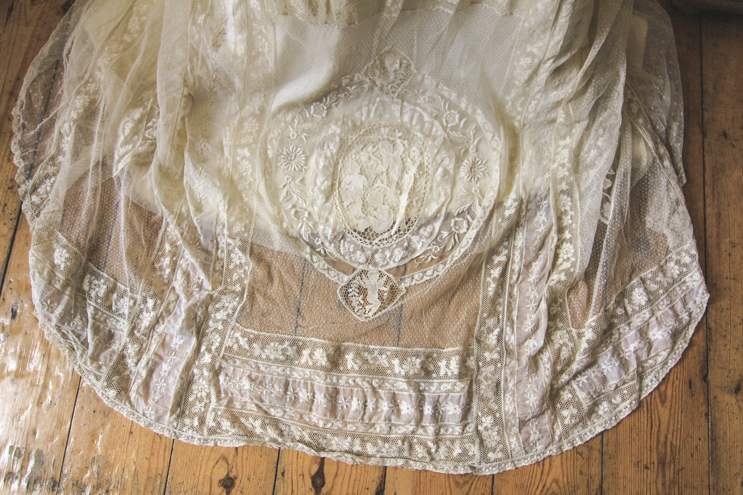 The train of my antique lace wedding dress