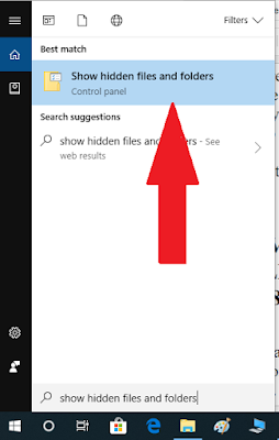 Show Hidden Files and Folders Option in Windows 10