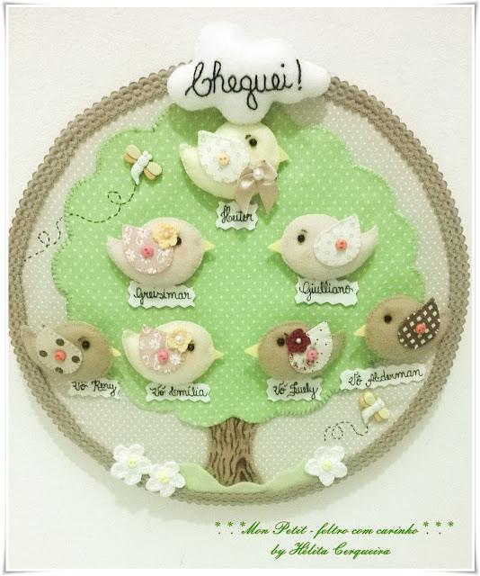quadrinho bastidor-enfeite porta maternidade-árvore genealógica-passarinhos-em feltro