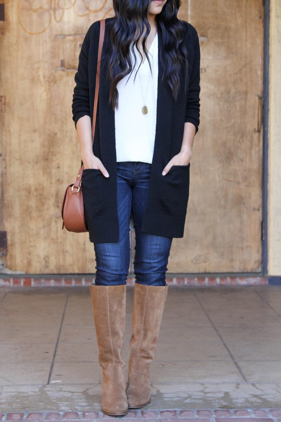 Black Cardigan + Pendant Necklace + White Tunic + Brown Bag