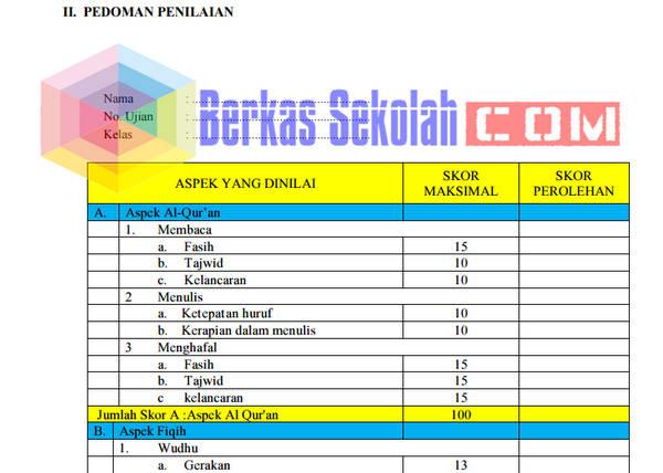 Format Penilaian Praktek PAI (Shalat, Wudhu, Tayamum, BTQ)