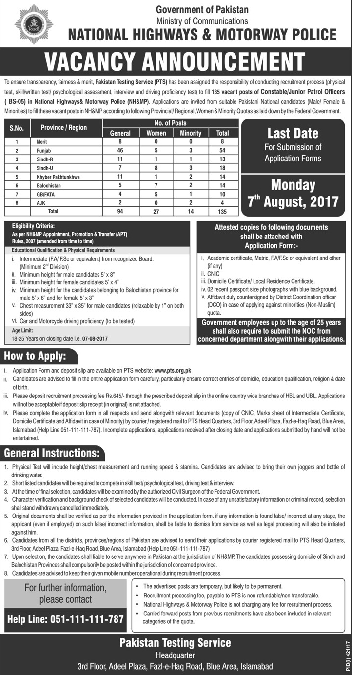 National highway and motorway police jobs Islamabad july 2017