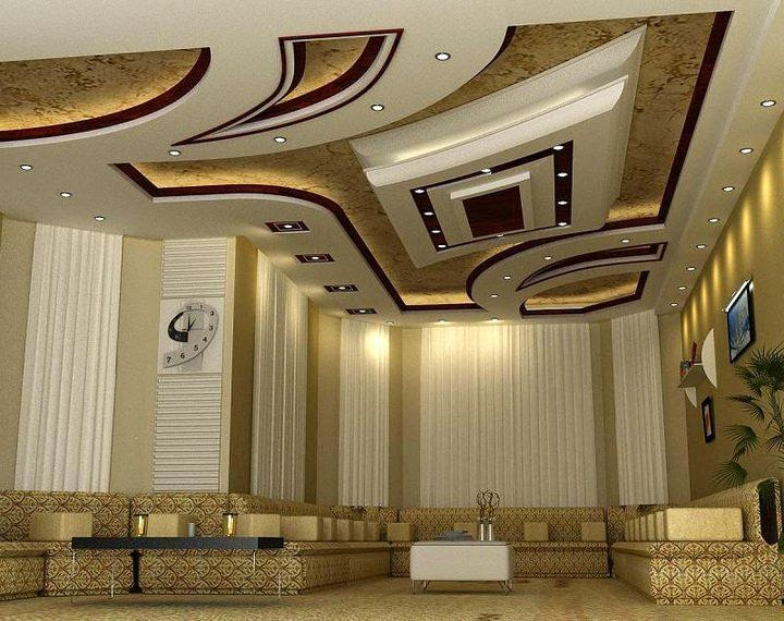 10 modern pop false ceiling designs for living room for Pop interior design for hall
