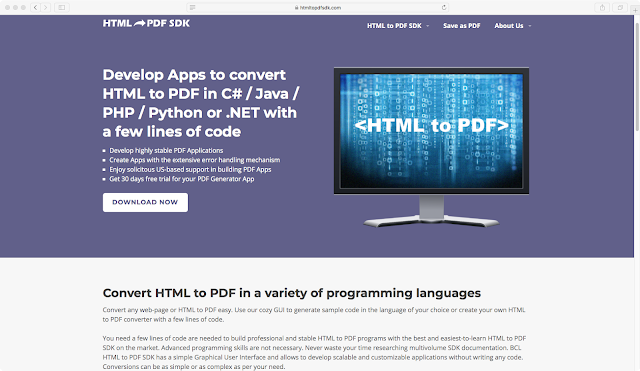 A website for HTML to PDF SDK to generate leads by Andrey Palagin