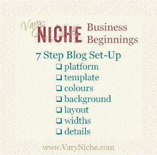 Vary Niche Business Beginnings: 7 Step Blog Set-Up; platform, template, colours, background, layout, widths, details; www dot Vary Niche dot com.