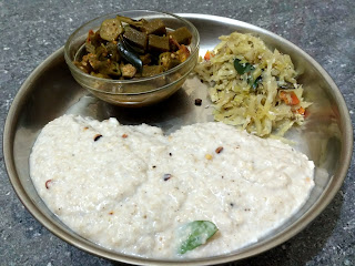 Little millet Coconut curd rice, Ladies finger curry, Cabbage poriyal