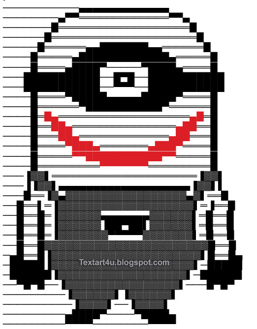 Copy paste minion joker text art for facebook cool ascii for In this house copy and paste