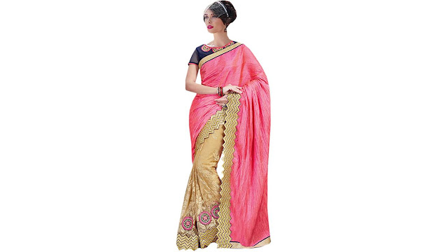 Odhni Embroidered Bollywood Net, Silk Saree  (Pink, Beige)
