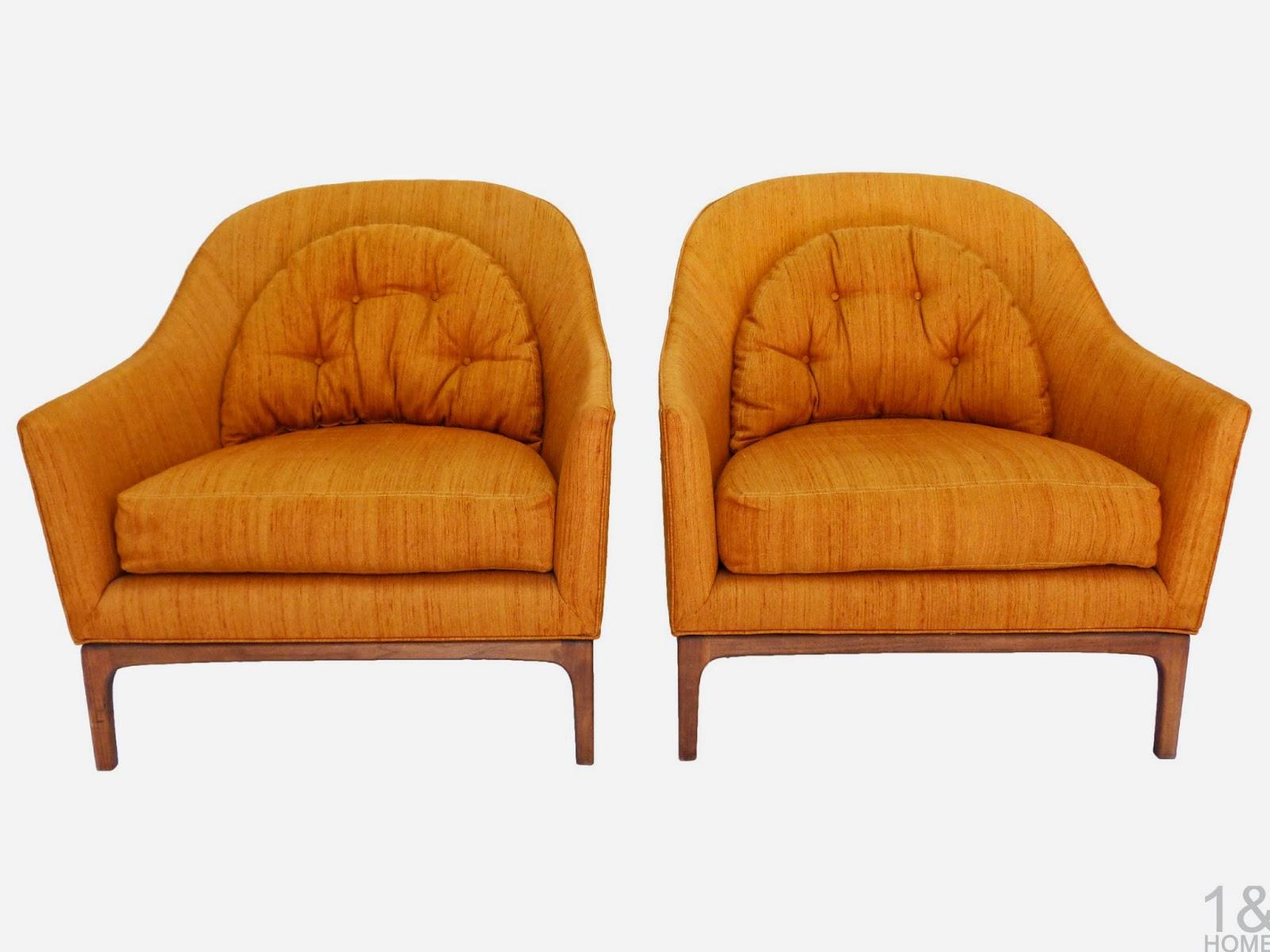 Mid-Century Orange Barrel back Lounge Chairs club wood frame milo baughman
