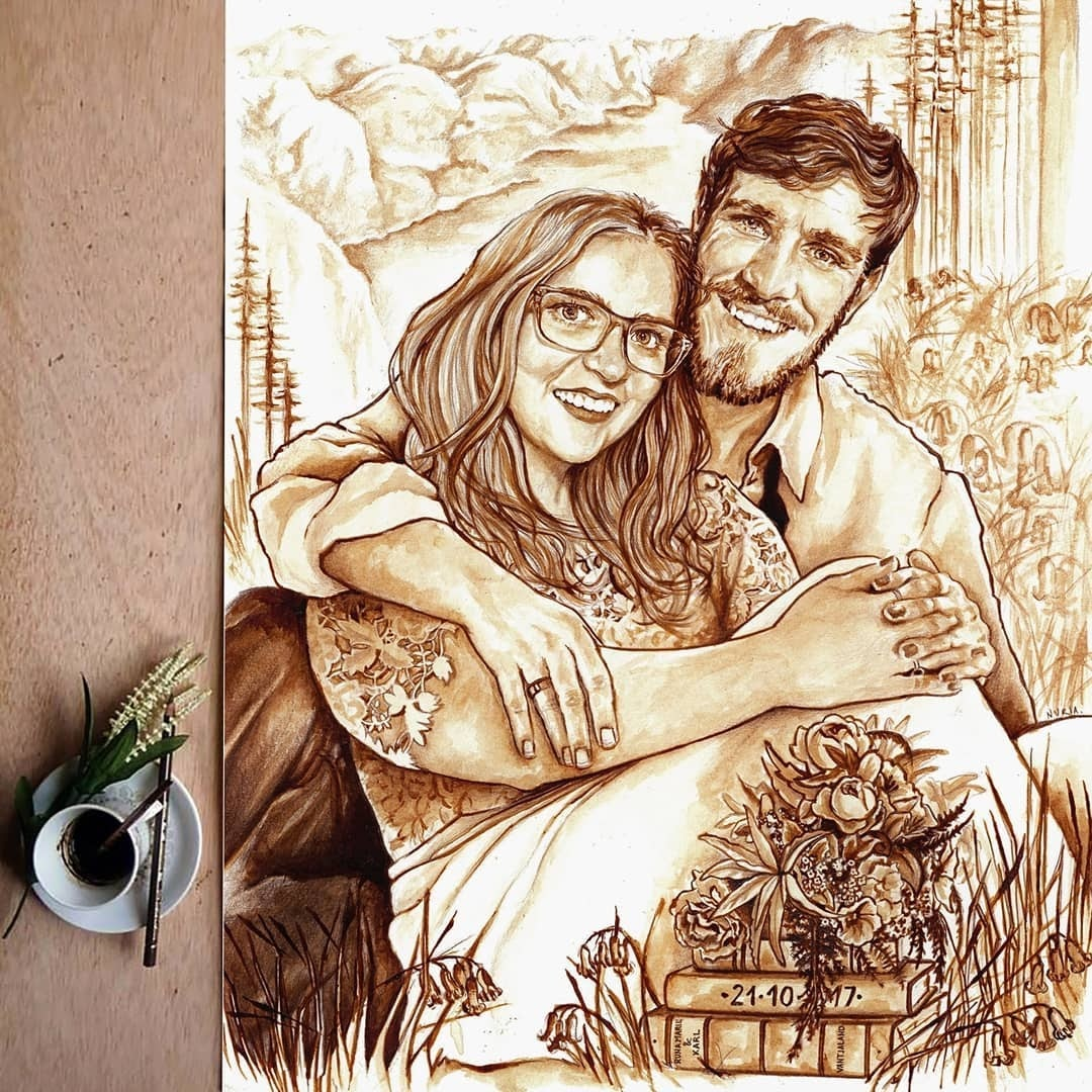 13-Wedding-Portrait-Commission-Nuria-Salcedo-Detailed-Portrait-Paintings-Using-Coffee-www-designstack-co