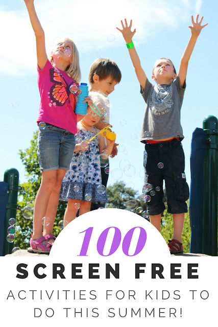 100+ Screen free summer activities for kids. These ideas work for children and teens of all ages and include lots of indoor, outdoor and craft ideas that are perfect for both boys and girls.
