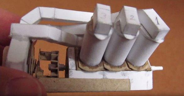 Un motor V6 hecho completamente de papel