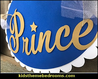 Little Prince 3 oval baby shower banner in white royal blue/gold