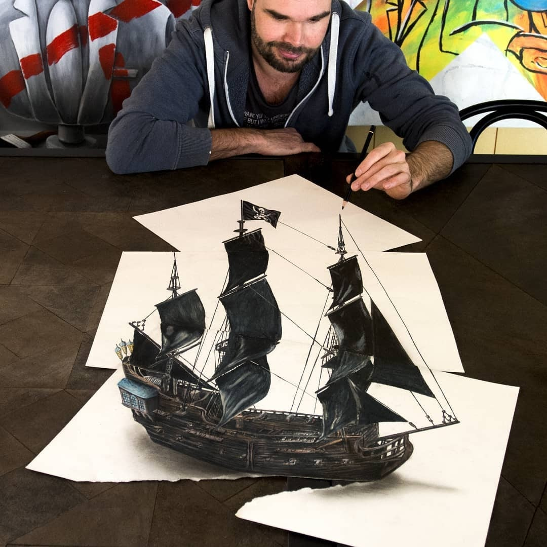 02-Pirate-Galleon-Ramon-Bruin-Optical-Illusions-in-3D-Drawings-www-designstack-co