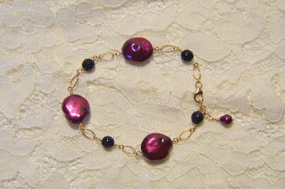 wine cranberry large coin pearl and navy dark blue sparkling goldstone bracelet with gold chain handmade adjustable
