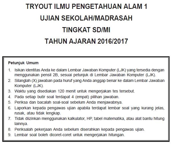 Soal Latihan Ujian Sekolah (US) IPA SD/MI 2017 dan Kunci Jawaban