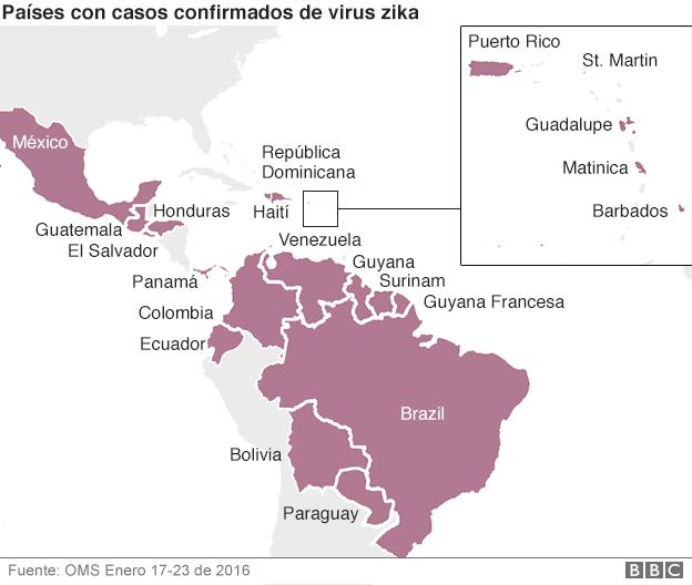 Países con casos confirmados de virus Zika