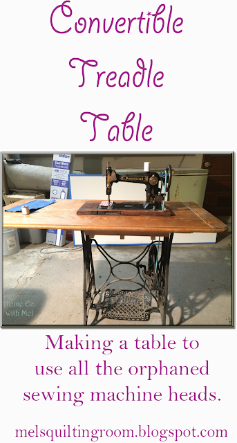 convertible treadle sewing table.