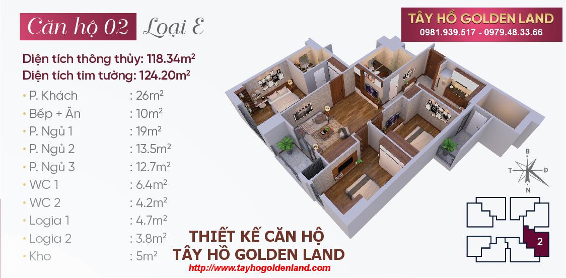 Hình ảnh Thiết kế căn hộ Tây Hồ Golden Land Căn 02 - Loại E