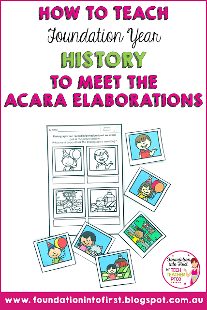 How to teach Foundation Year History to meet the Australian curriculum guidelines. HASS teaching ideas for primary school teachers. #techteacherpto3 #foundationintofirst #history #teaching #prep #foundation #year