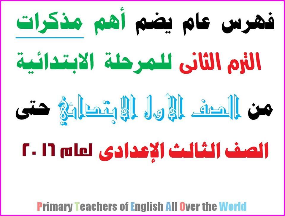 تجميعة جبارة لكل مذكرات اللغة الانجليزية للصفوف الابتدائية والاعدادية الفصل الدراسي الثاني 2016 55