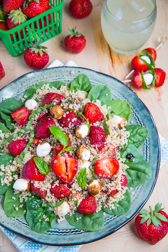 Strawberry Quinoa and Spinach Caprese Salad Recipe
