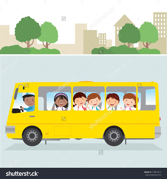School Bus Vector Illustration Of School Bus Driver And Happy School  Kids On The