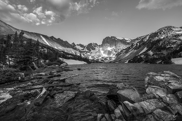 Lake Isabelle in the Indian Peaks Wilderness, Colorado.  Black and white photography by Aaron Spong