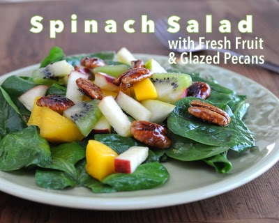 Spinach Salad with Fruity Vinaigrette, Fresh Fruit & g-o-r-g-e-o-u-s Maple-Glazed Pecans, works for one or two or serving a crowd. Weight Watchers PointsPlus 2, KitchenParade.com