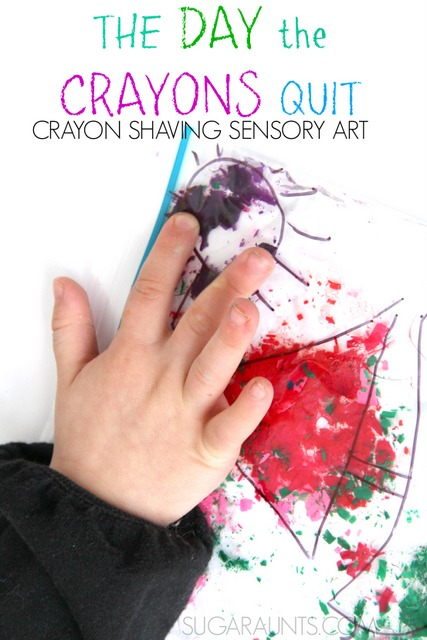 Crayon shaving art craft for sensory play based on the book, The Day the Crayons Quit