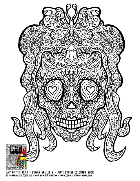 Day Of The Dead Sugar Skulls  Plicated Coloring Free Adult Colouring  Source  Adult Coloring Pages Mandala  On Intricate Flower Coloring  Pages