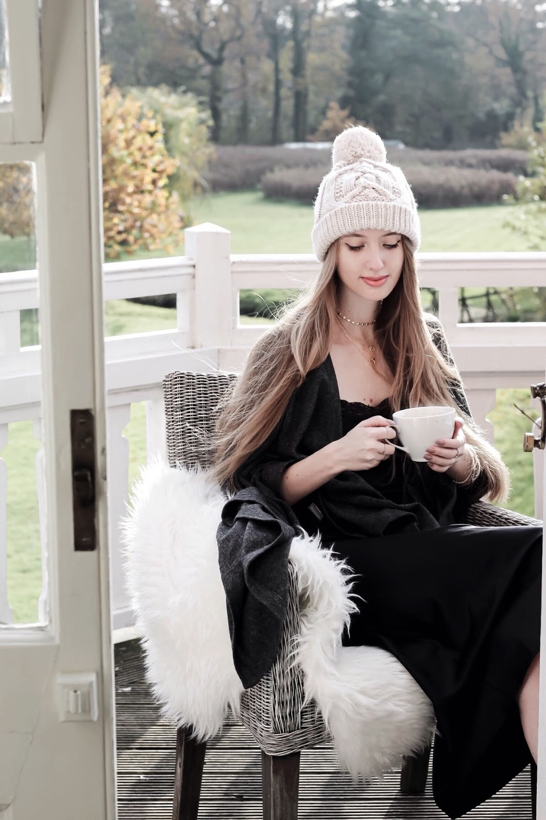 Fashion blogger Cosy Alpine Balcony Scene