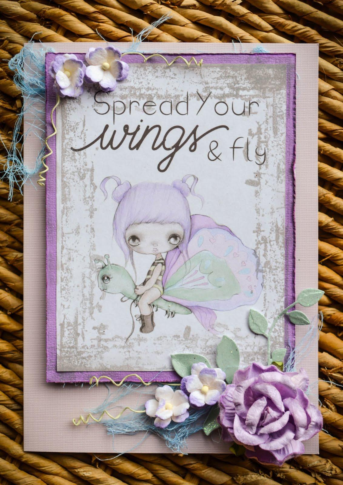 purple handmade card featuring ppinkydolls digi image