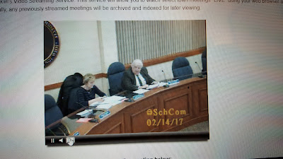 screen grab via the remote participation of the School Committee meeting, Tuesday, Feb 14