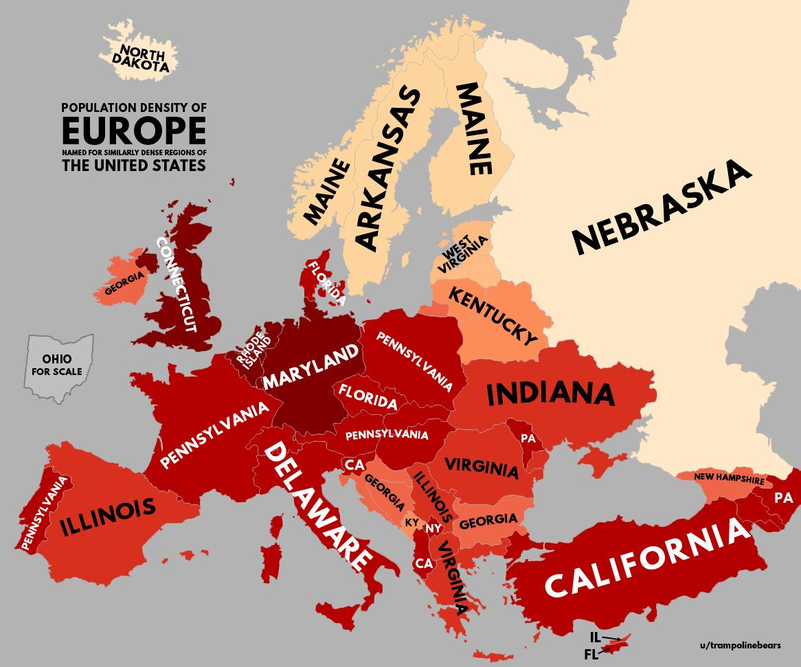 Population density of U.S. with Europe equivalents