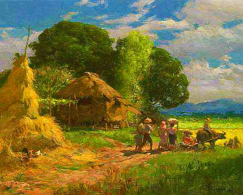 Fernando Amorsolo, Village Scene, 1947