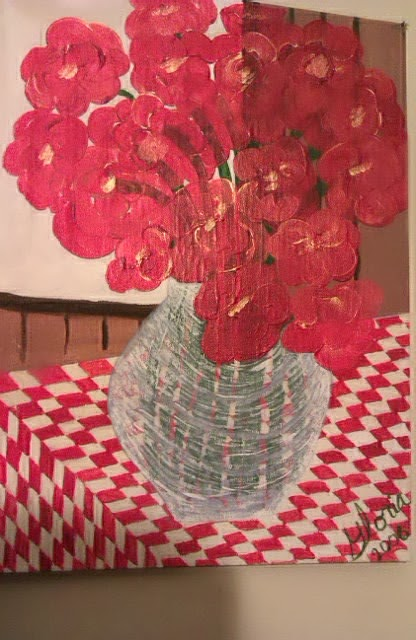 """Poppies"" by Gloria Poole ; yr 2006; acrylics on canvas board, approx 16 x 20."