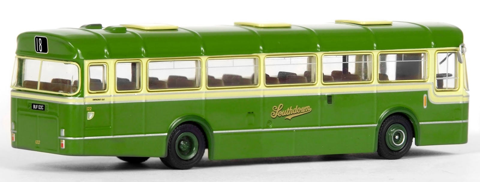 35308 - 36' BET 6 Bay Leyland Leopard - Southdown Our model depicts the preserved 36' Marshal bodied Leyland Leopard BUF 122C, which first entered service with Southdown in 1965. Decorated in the classic livery, numbered 122 and shown working on route 18 to Brighton. Each model will be issued a numbered certificate in a unique Southdown Ticket design.