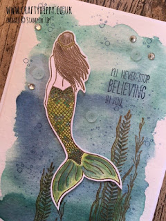 Create this beautiful Mermaid Card using the Magical Mermaid stamp set and Aqua Painters from Stampin' Up!