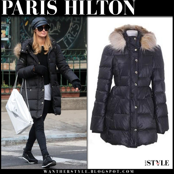 Paris Hilton in black puffer coat juicy couture what she wore winter fashion