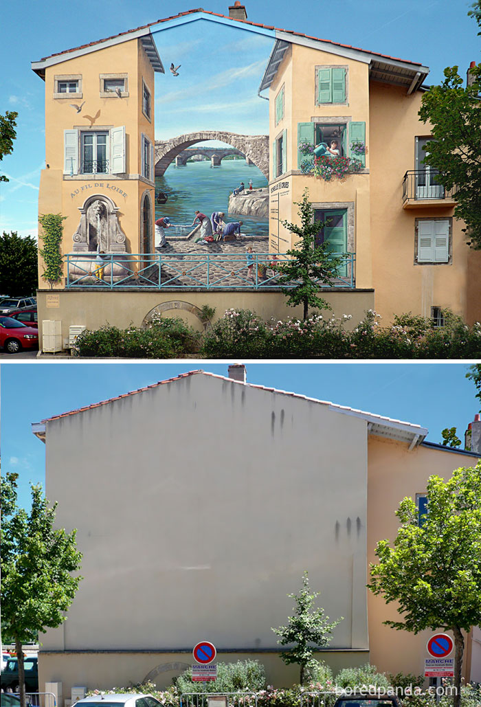 10+ Incredible Before & After Street Art Transformations That'll Make You Say Wow - Au Fil De Loire, Brives Charensac, France