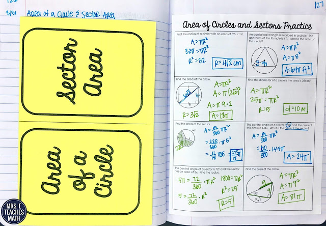 area of a circle and sector area foldable for geometry interactive notebooks