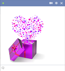 Purple present Facebook sticker