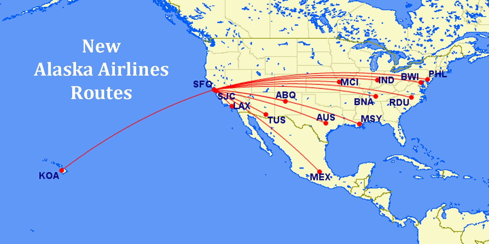 alaska airlines proposed new routes from the san francisco bay area click image to enlarge