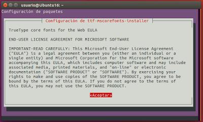 Configuracion de ttf-mscorefonts-installer Aceptar