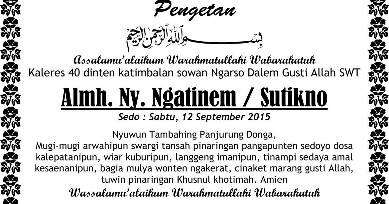 40 Koleski Terbaik Ucapan 1000 Hari Orang Meninggal Bahasa Jawa Handoko Blog S