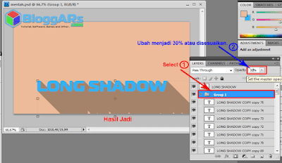 Hasil Efek Long Shadow di Photoshop
