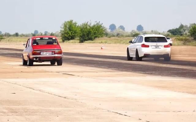 Ένα Dacia 1300 βάζει δύσκολα σε μια BMW 335d xDrive