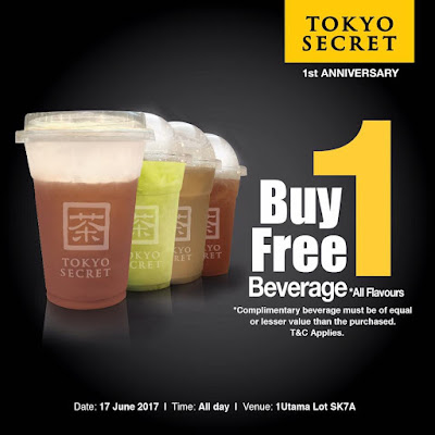 Tokyo Secret Buy 1 Free 1 Beverage Promo