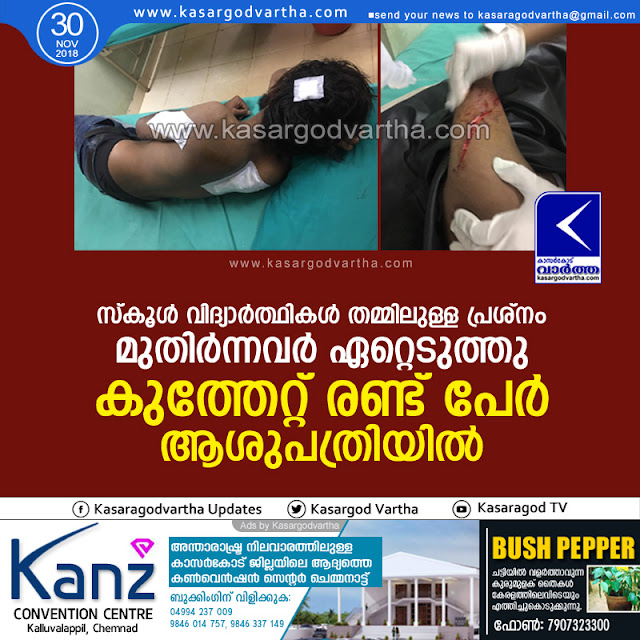 Cherkala, Kasaragod, Students, Clash, Stabbed, Injured, News,  2 Stabbed, Attack, School Raging, 2 hospitalized after stabbed